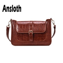 Ansloth Crocodile Pattern Shoulder Bag Women Solid Color Messenger Ladies Small Square Female Fashion Handle HPS695