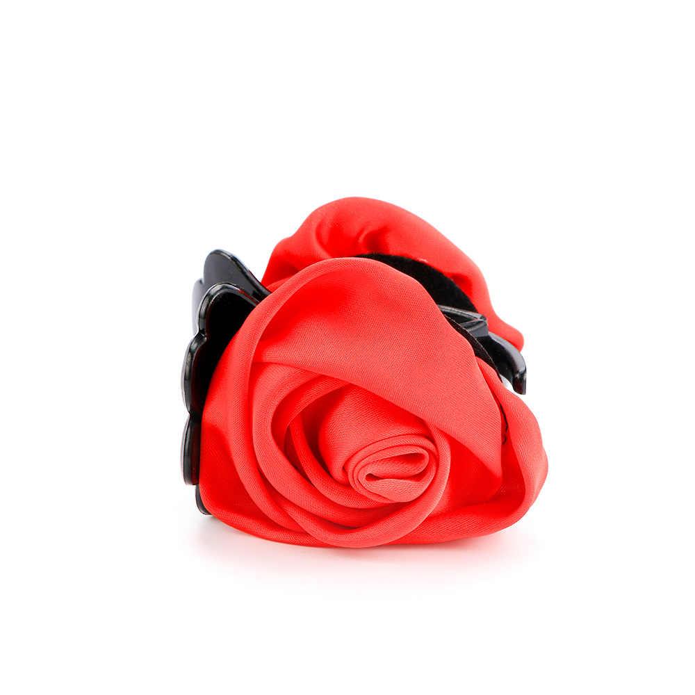 1 Pcs Coreano Delle Donne di Stile Elegante Chiffon del Fiore della Rosa Bow Jaw Clip Barrette Dei Capelli Artiglio accessori Moda Regalo