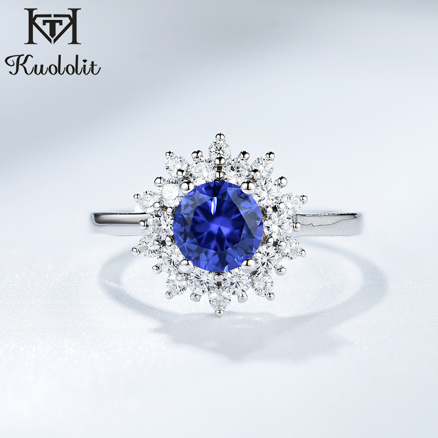 Round Tanzanite Ring 925 Sterling Silver Platinum Plated Jewelry for Women Size 8 Ct 0.8