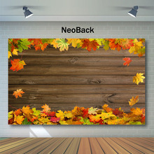 NeoBack Autumn Maple Leaf Rustic Wood Photography Backdrops Fall Baby Shower Backdrop Childrens Birthday Party Photo Background