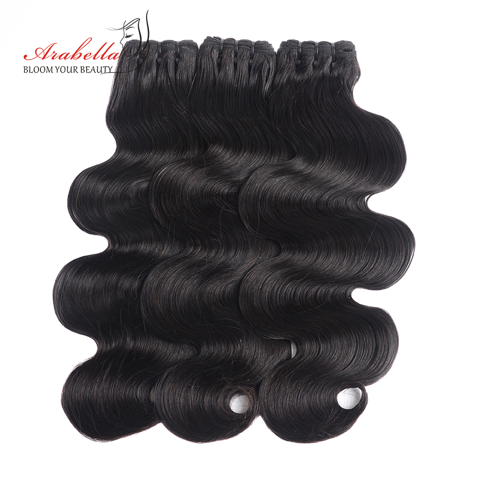 Super Double Drawn Body Wave Hair Bundles With Transparent Lace Closure 100%  3 Bundles Virgin Hair  Arabella 4