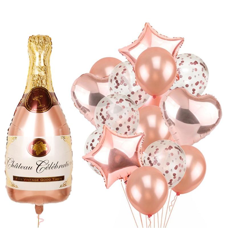 1set Navidad Rose Gold Bottle Mylar Foil Balloons Birthday Party Decorations Kit Supplies Bridal Shower Wedding Bachelorette Toy