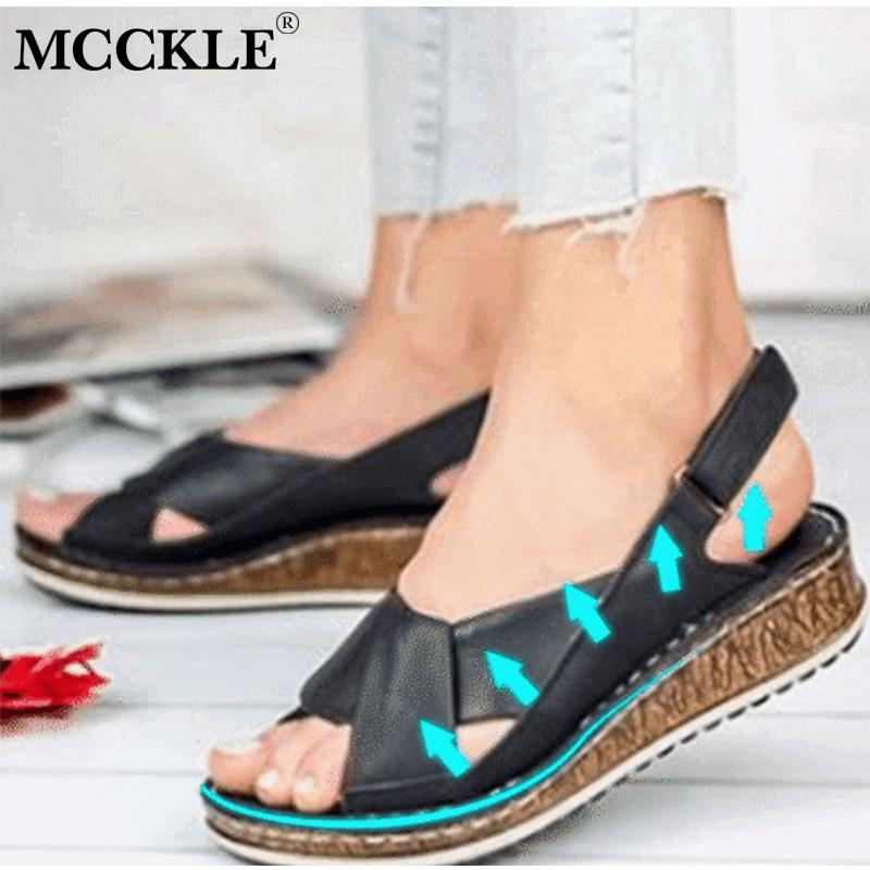 MCCKLE Women's Summer Buckle Sandals Ladies Open Toes Slingbacks Cross Tied Sewing Flat Shoes Female Casual Platform Woman Shoes