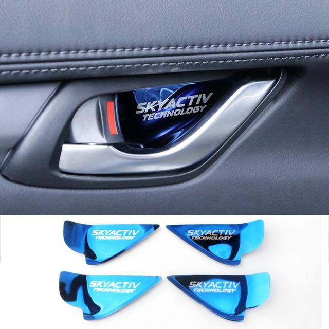 Manija de puerta interior de coche de pegatina de cubierta embellecedora para Mazda 2 3 6 Demio CX3 CX-5 CX5 CX 5 CX7 CX9 MX5 Axela ATENZA 2017 de 2018 a 2019