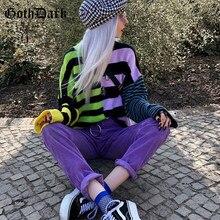 ゴスダークヴィンテージゴシックカラフルなストライプセーターe-ガール原宿パンクファッションカラーブロッキング美的女性