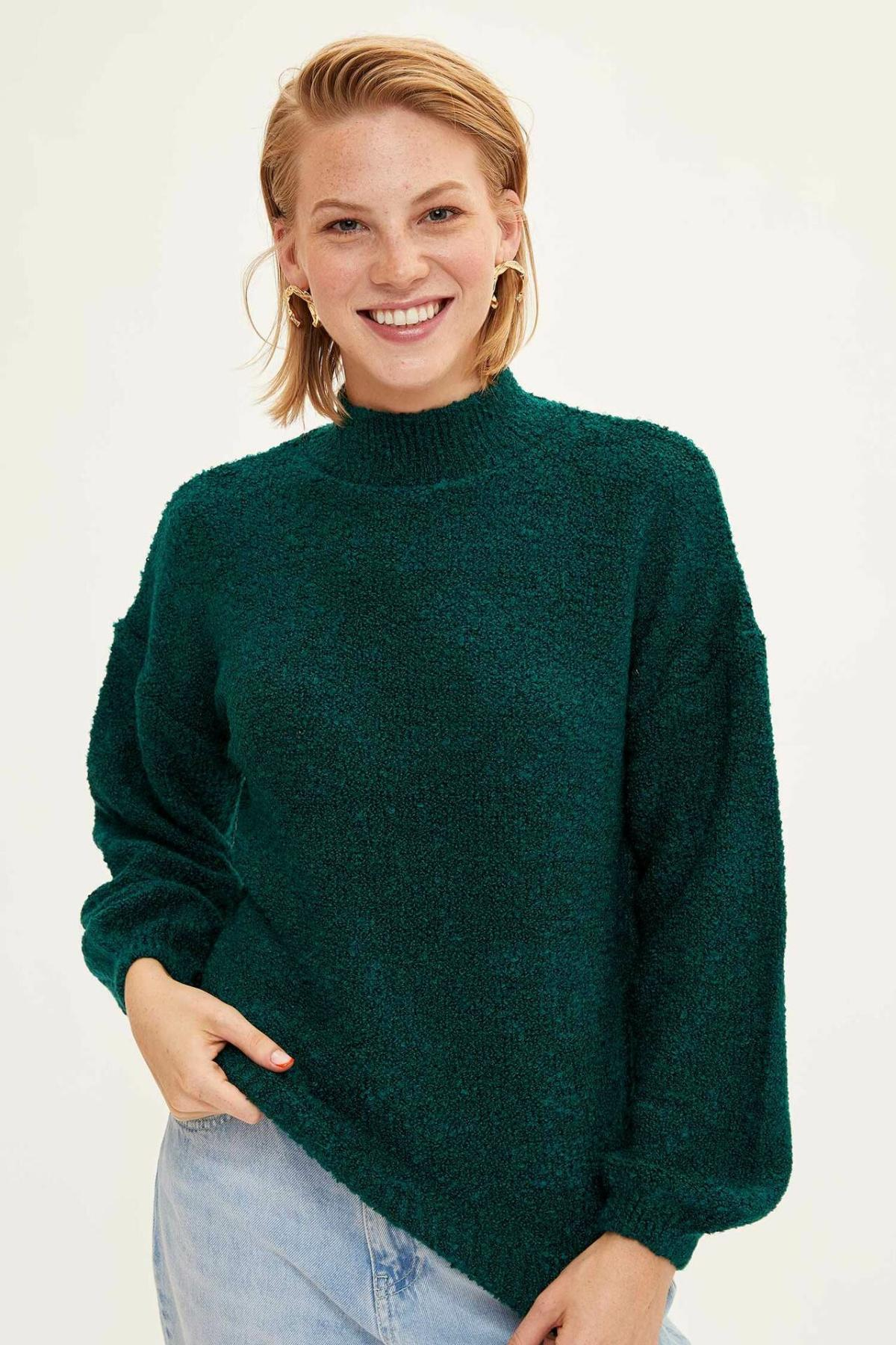 DeFacto Women Pure Color Turtleneck Knitted Pullovers Casual Long Sleeves Women Tops Autumn New -L2139AZ19WN
