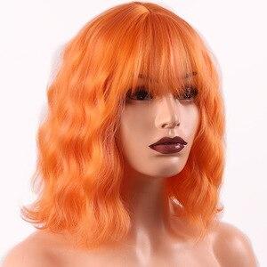 Image 1 - MERISI saç kısa su dalga sentetik saç turuncu kırmızı renkler mevcut peruk kadınlar için ısıya dayanıklı iplik günlük yanlış saç