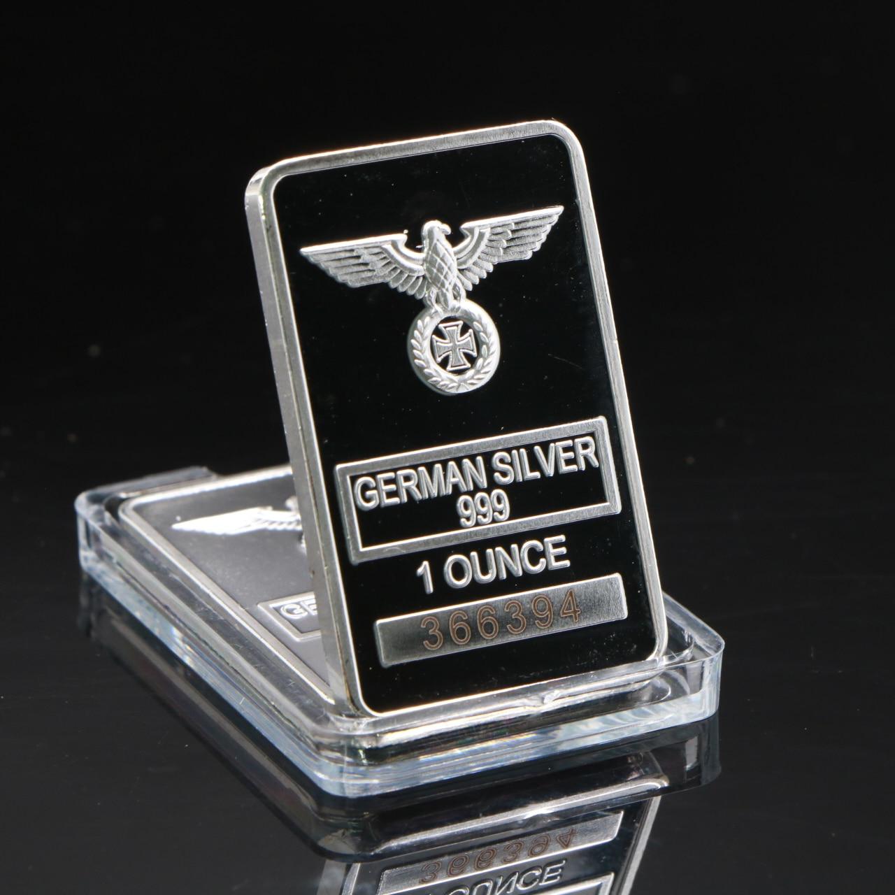 Cápsula acrílica clara da barra transversal chapeada prata da onça da barra 999 rara 1 da águia alemã com número de série diferente