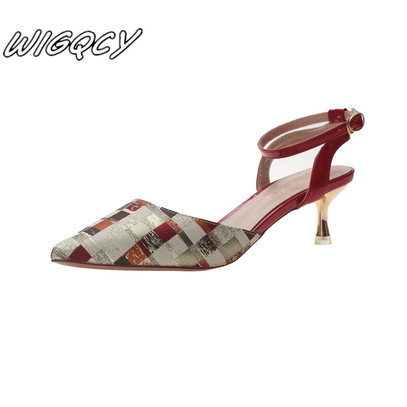 Spring Summer New 2019 Fine With Single Shoes Shallow Mouth Ladies Pointed Pumps Sandals Women Comfortable High Heels Mujer