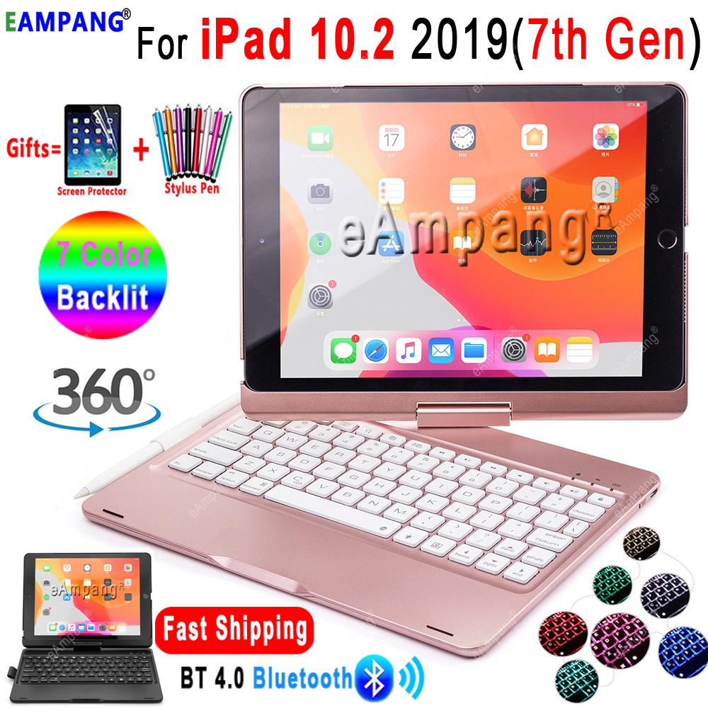 For IPad 10.2 Keyboard Case 360 Rotatable Backlit Keyboard For Apple IPad 10.2 2019 7th Generation Case Cover With Pencil Holder
