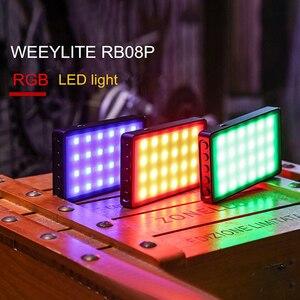 Viltrox weeylife rb08p rgb 2500 k-8500 k mini vídeo led luz de preenchimento portátil bateria embutida para o tiro da câmera do telefone