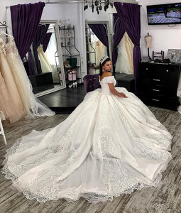 Image 4 - Arabic Lace Ball Gown Weddings Dresses lace Off The Shoulder Chapel Wedding gown Sequins Beaded Plus Size Bridal Gown