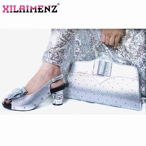 Image 3 - 2020 グリーンカラーの女性の靴とマッチングバッグセットイタリア女性のパーティーの靴やバッグセット快適なため結婚式