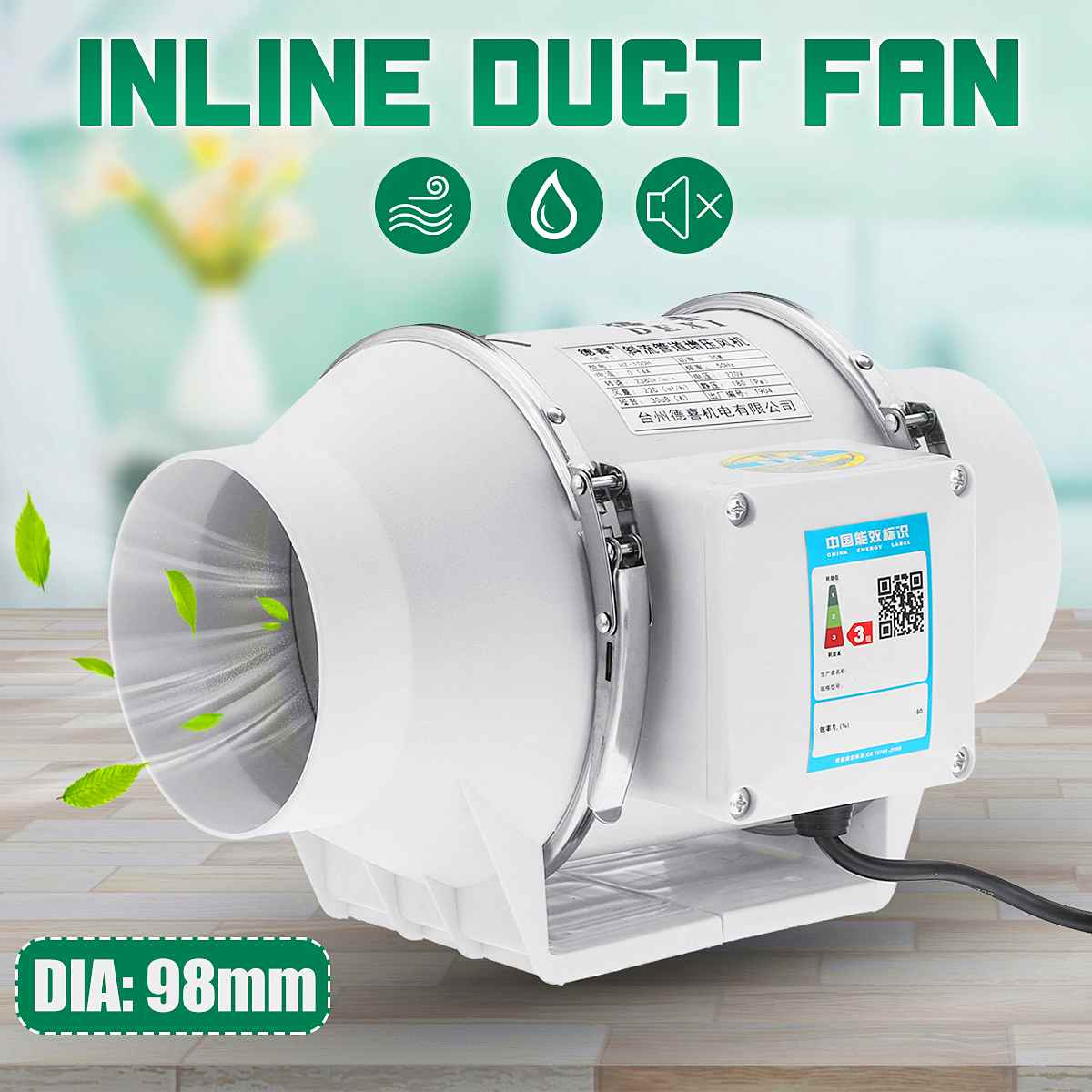 Mixed Flow Inline Duct Booster Fan Turbines Air Blower Hydroponic Air Ventilation System Bathroom Toilet Kitchen Extractor Fan