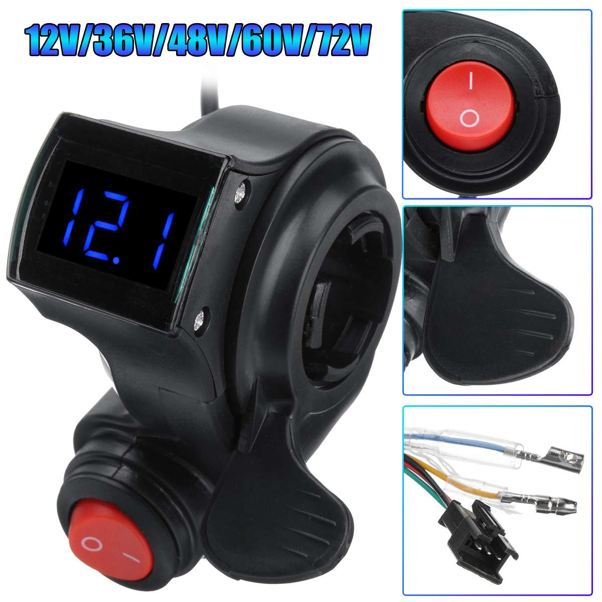 Electric Bicycle Thumb Throttle 12V-72V Thumb Throttle With Power Switch LED Voltage Display For Electric Bike Accessories