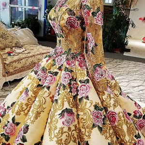 Image 4 - LS39810ヘビービーズイブニングドレス長袖花柄ガウンセクシーなスパンコールpronmイブニングドレス中国アリババ卸売