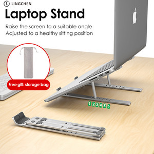 Image 2 - LINGCHEN Laptop Stand for MacBook Pro Notebook Stand Foldable Aluminium Alloy Tablet Stand Bracket Laptop Holder for Notebook
