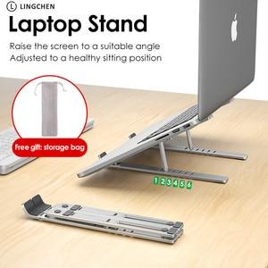Image 2 - Lingchen portátil suporte para macbook pro notebook suporte dobrável liga de alumínio tablet suporte portátil para notebook