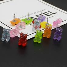 Cute Handmade Colorful Ins Style Cartoon Bear Stud Earrings Resin Candy Color Animal Friends Diary Fun Jewelry