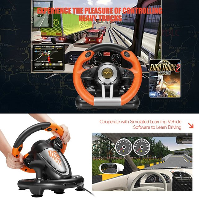 PXN V3II Racing Game Pad 180 Degree Steering Wheel Vibration Joysticks With Foldable Pedal For PC PS3 PS4 All-in-one 6