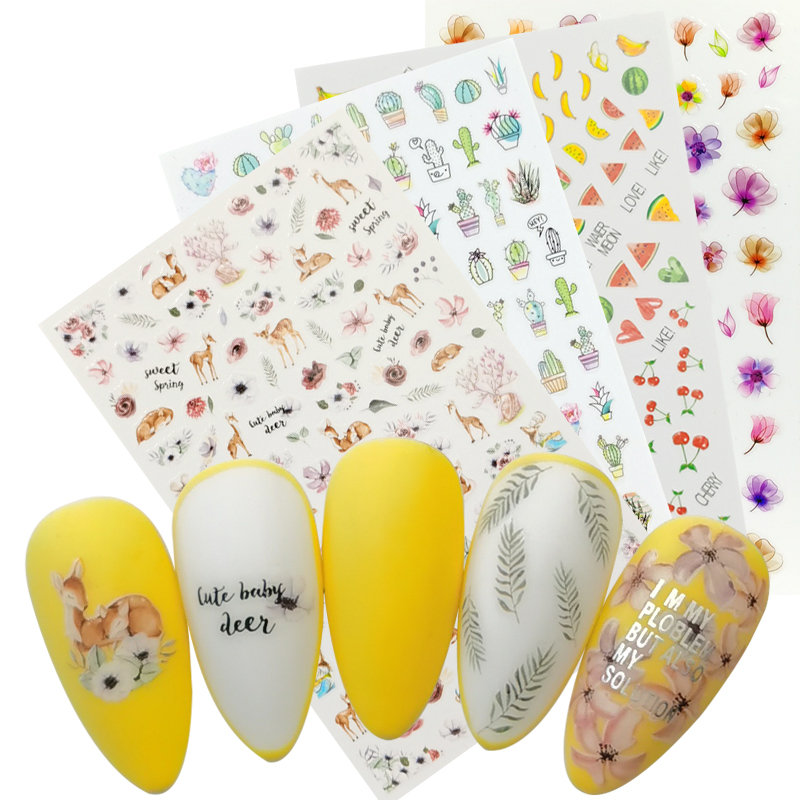 1 Sheet Deer Fruit Cactus Fower Leaf 3D Self Adhesive Nail Sticker Transfer Decals Manicure Decorations DIY Stickers