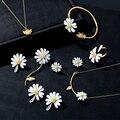 HUANZHI 2020 новые милые золотые маргаритки цветок регулируемые Открытые Кольца для женщин девочек ювелирные изделия для вечерние Ринок подарки