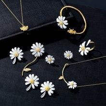 HUANZHI 2020 Novo Bonito Da Flor Da Margarida do Ouro Ajustável Anéis Aberto Para Mulheres Meninas Presentes da Jóia Do Partido