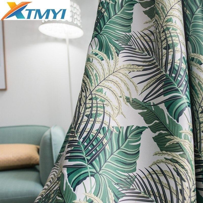 Pastoral americana cortinas para sala de estar, dormitorio verde, hojas de palmera, tratamiento de sombreado, cortinas ciegas|Cortinas|   - AliExpress