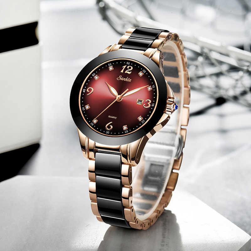 2020 SUNKTA מותג אופנה שעון נשים יוקרה קרמיקה וסגסוגת צמיד אנלוגי שעוני יד Relogio Feminino Montre Relogio שעון