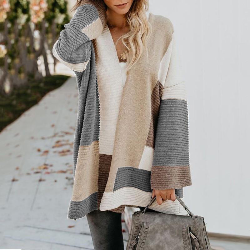 2020 Women knitted cardigan geometric stitching vintage long women sweater warm autumn winter loose cardigan coat female DR2246 (27)
