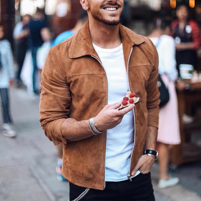 Модная мужская замшевая кожаная куртка, облегающая Байкерская мотоциклетная куртка, пальто, верхняя одежда, модная уличная одежда
