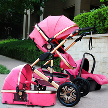 High Landscape Baby Stroller 3 in 1 Hot Mom Baby Pink Stroll