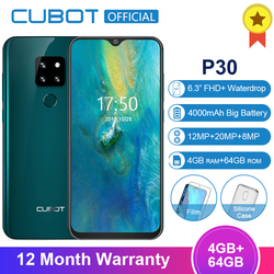 Cubot P30 4GB 64GB MT6763 Octa Core Android9.0 Smartphone 6.3'' FHD+ Waterdrop Screen 2340*1080 4000mAh Face ID 4G Mobile Phone