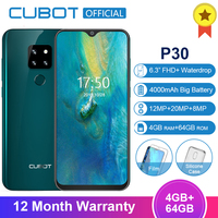 Cubot P30 4GB 64GB MT6763 Octa Core Android 9.0 Smartphone 6.3'' FHD+ Waterdrop Screen 2340*1080 4000mAh Face ID 4G Mobile Phone