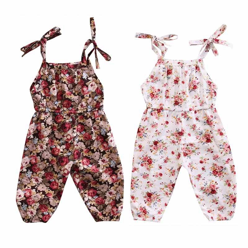 סיטונאי יילוד תינוקות תינוקת פרחוני הדפסת Romper שרוולים סרבל חתיכה אחת תלבושות חליפת קיץ פעוט ילדה קיץ בגדים