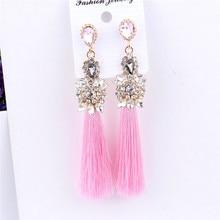 цена на European Exaggerated Geometric Crystal Heart Long Tassel Drop Earrings For Women Girls Party Wedding Prom Earrings Jewelry Gifts