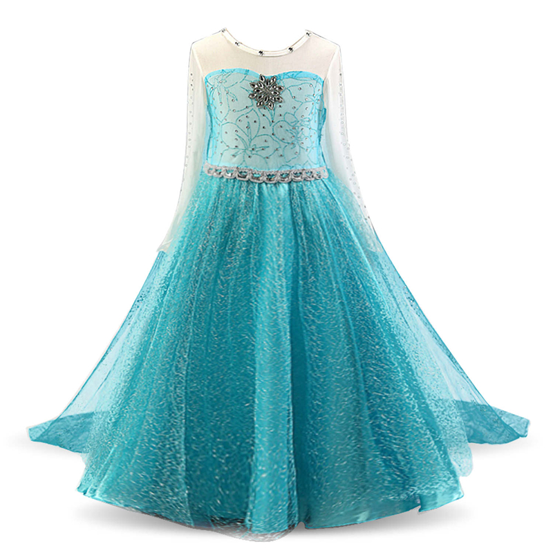 Hcfdd20e85a14439fa9dea6c12651fba7v 4-10T Fancy Princess Dress Baby Girl Clothes Kids Halloween Party Cosplay Costume Children Elsa Anna Dress vestidos infantil