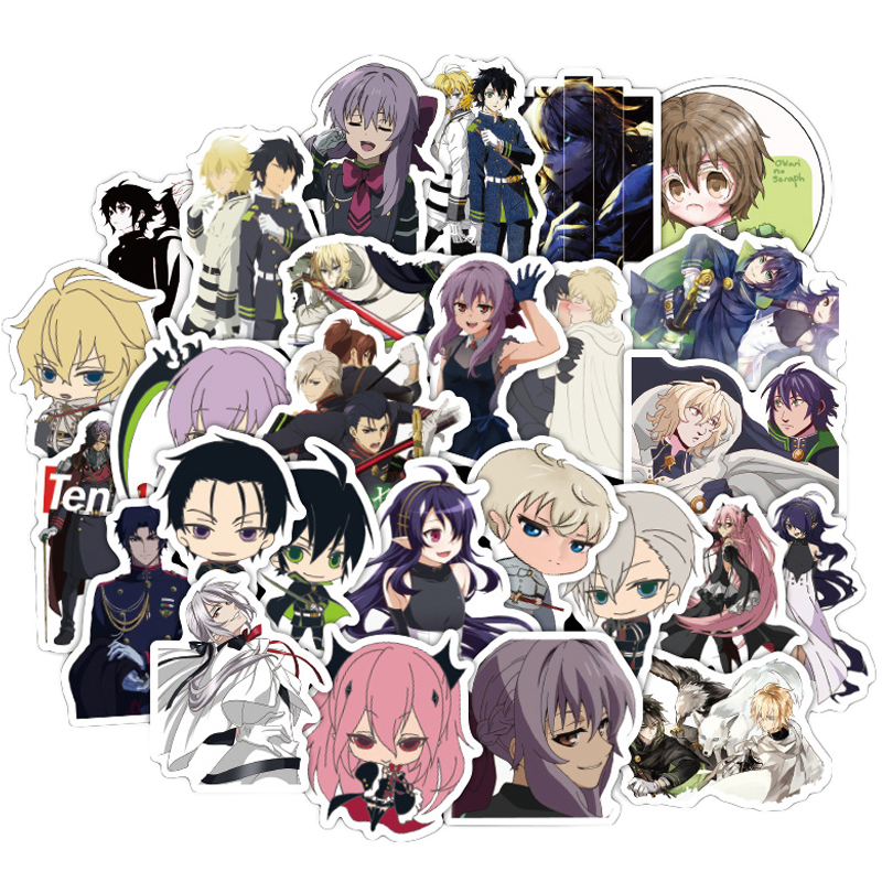 50PCS Japan Anime Seraph Of The End  Sticker For Luggage Laptop Skateboard Car Bicycle Backpack Decal Pegatinas Toy Stickers F4