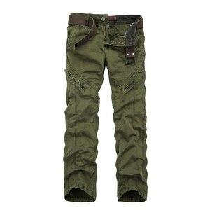 Image 4 - アーミーグリーン男性のミリタリーパンツスリムフィットワークカーゴパンツ戦術的なカジュアルなストレート長ズボンカーゴパンツ男性とポケット
