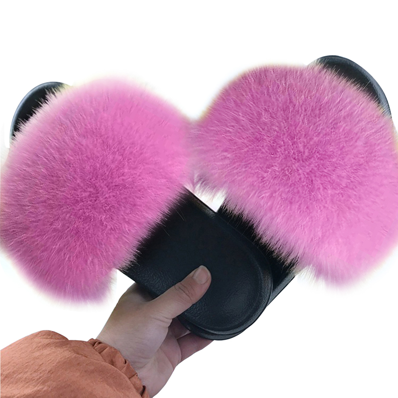 Puimentiua Summer Fluffy Fur Slippers Shoes Women Real Flip Flop Flat Slides Outdoor Sandals Ladies Amazing Shoes 2020