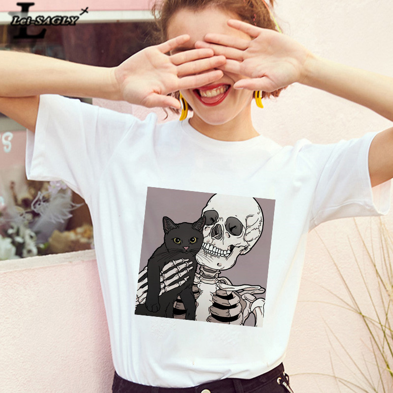 Lei SAGLY Horrible Skull And  Cute Cat Women T Shirt Horr Harajuku Female Gothic Short Sleeve Vntage Casaul  Oversize Tee Tops