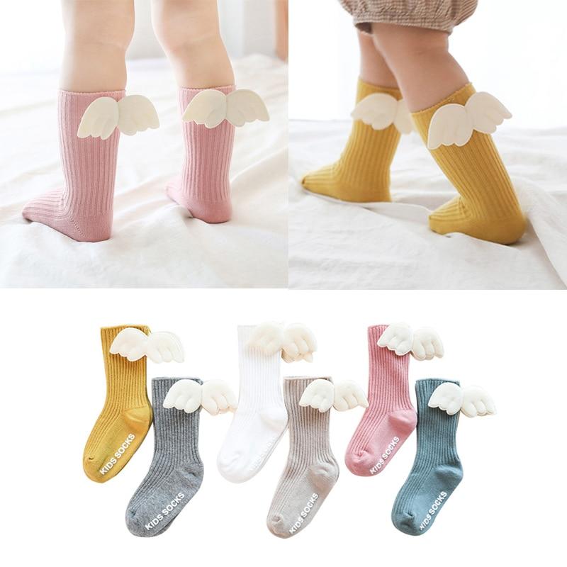 New Kids Socks Toddlers Girls Cute Wings Knee High Long Soft Cotton Baby Socks Kids Winter Socks For Baby Girl  Dropshipping