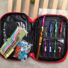 Набор крючков для вязания 32 шт с цветными алюминиевыми сменными