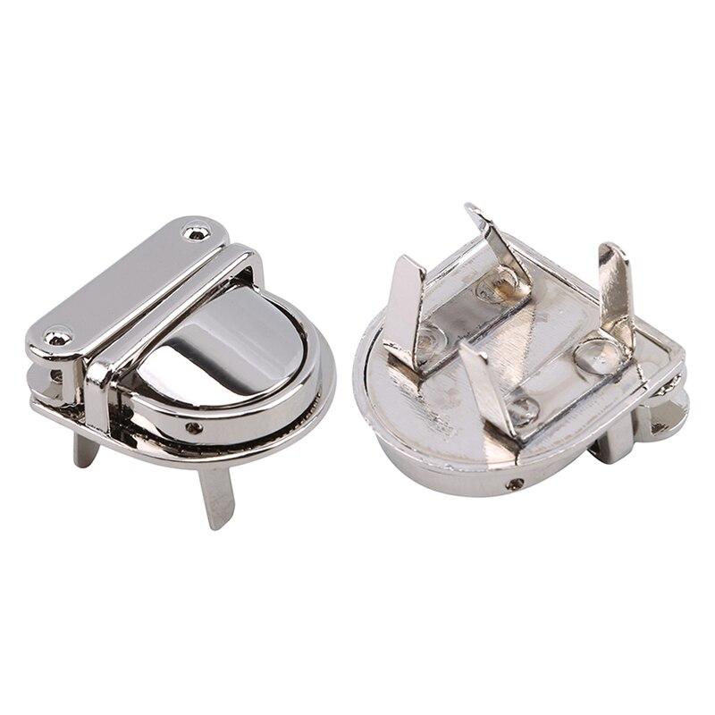 2pcs/lot Metal Handbag Clasp Turn Lock Buckle Bag Accessories Twist Lock For DIY Bag Purse Hardware Closure