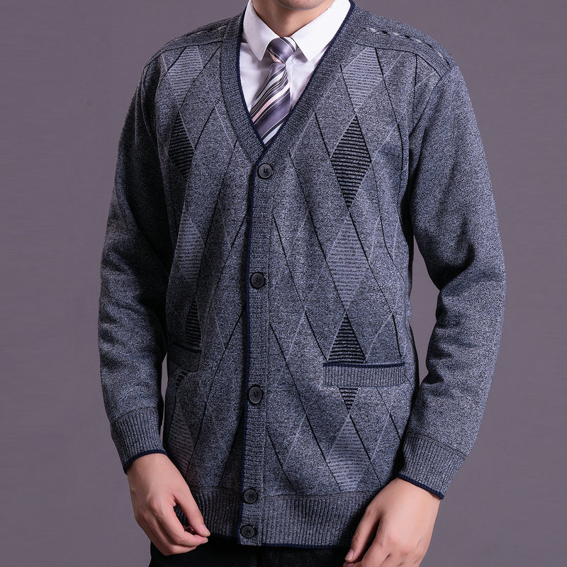 Men Elegant Lattice Pattern Knitting Cardigans Autumn Winter Thick Fleece Liner Sweater Man Blue Gray V-neck Jacquard Knitwear