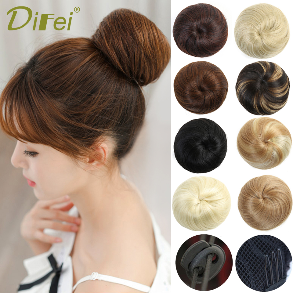 DIFEI Girls Black Brown Hair Bun Synthetic Hair Elastic Rubber Band Chignon Drawstring Donut Fake Hair 9 Colors Available