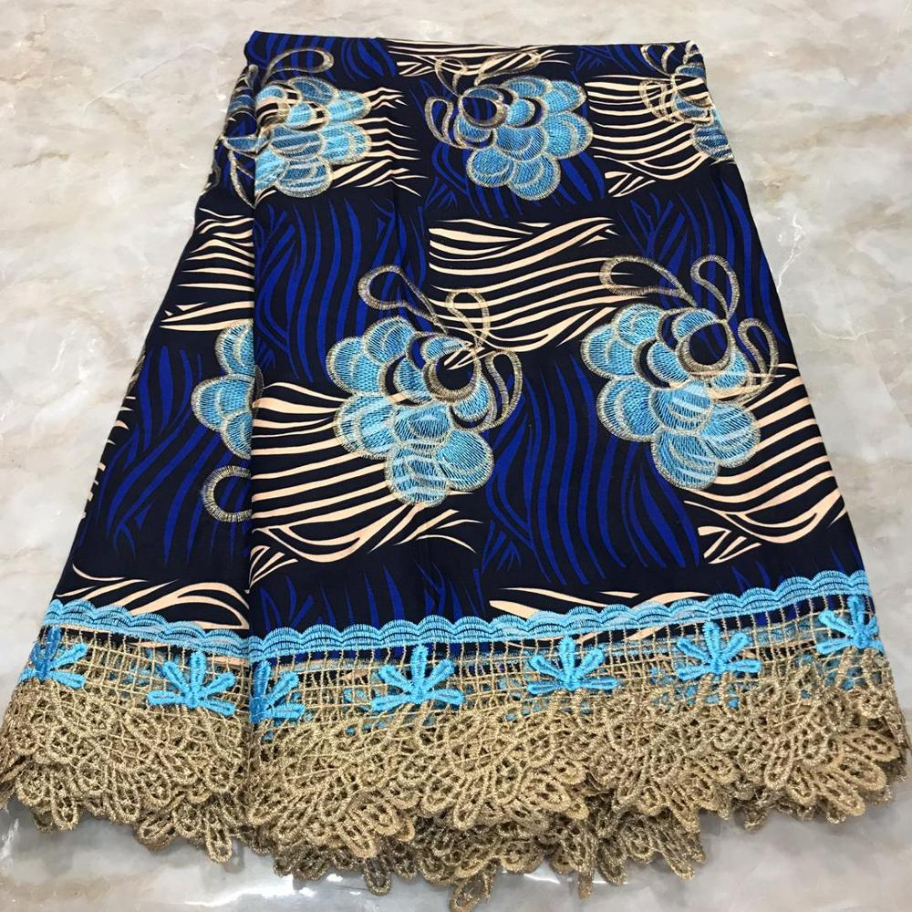 Blue Ankara Lace Cotton Wax Fabric Ghana Nigerian Dutch Holland Wax Pange Materials African Wax For Sewing, 6 Yards High Quality