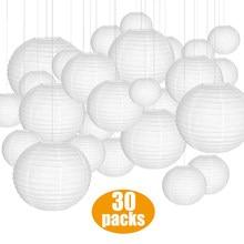 30 piezas blanco papel de linternas farolillos de papel de papel de diferentes tamaños de 4-14