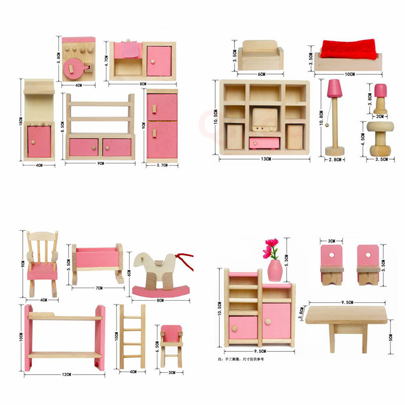 2019 Mini Simulation Family Furniture Sets BedsideTable Kitchen Girl Miniature Furniture Sets Educational Toys For Girl Kid Gift