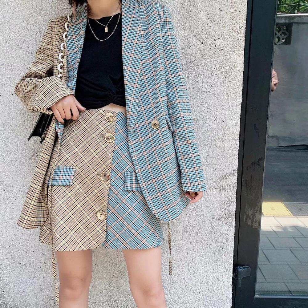 Elegant two-pieces women short suit Casual streetwear suits female blazer sets Chic 2019 office ladies women blazer suit